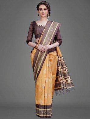 ocor yellow manipuri silk fabric printed work wedding