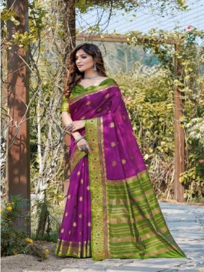 violet handloom cotton  fabric printed work party