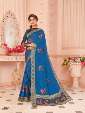 navy blue vichitra silk fabric embroidery work ethnic