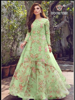 pista green heavy georgette fabric printed work ethnic
