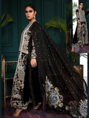 black  georgette fabric embroidery work ethnic