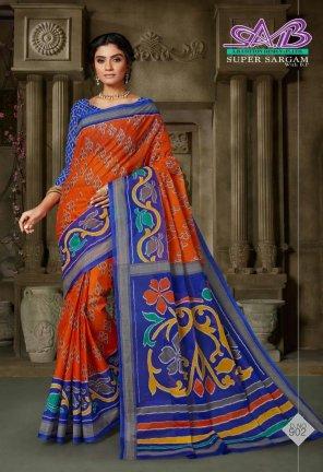 dark orange cotton fabric printed work ethnic