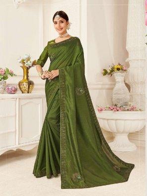mhendi green vichitra silk fabric embroidery work party