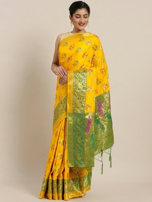 yellow banarasi silk fabric weaving work festival
