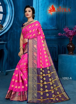rani pink poly cotton fabric weaving work casual