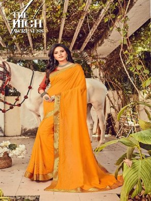 methi yellow georgette fabric embroidery work party