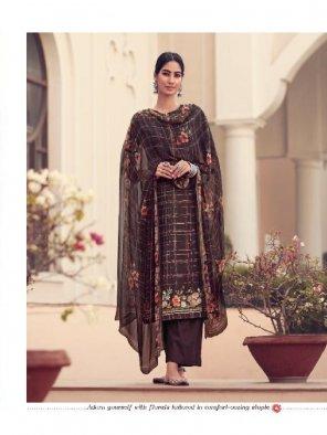 dark brown jam sattin fabric print with hend work work wedding