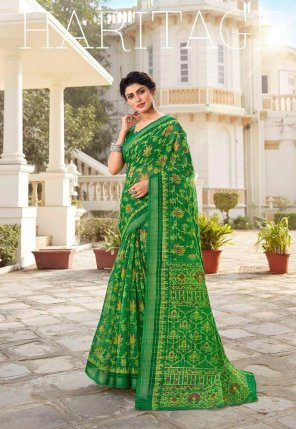 perrot green cotton fabric zari  work party