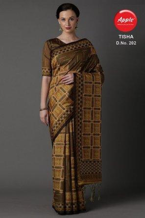 brown bhagalpuri silk fabric printed work party