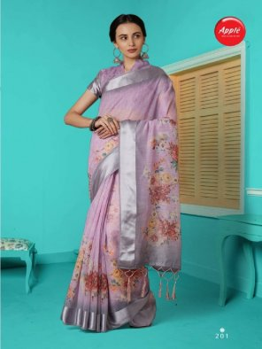 voilet linen fabric printed work occasionaly