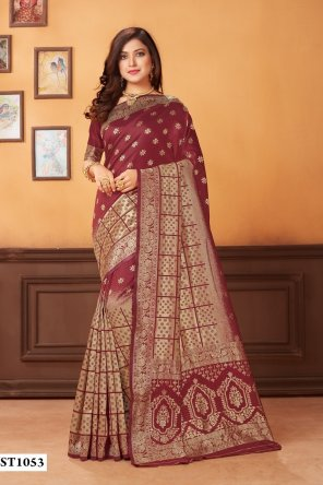 maroon jacquard fabric print work party
