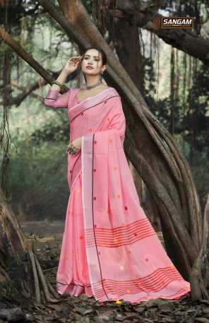 pink linen cotton fabric weaving work party