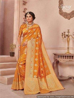 honey yellow lichhi silk  fabric weaving butta work festival