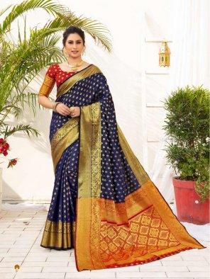 royal blue silk fabric jaquard print work wedding