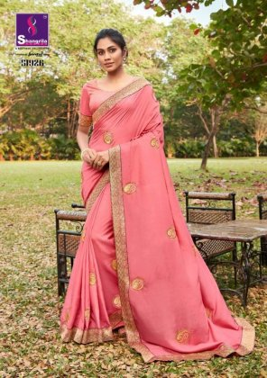 peach pink soft dola silk fabric embroidery with swarouski  work festival
