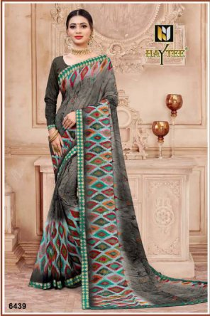 grey georgette fabric printed work party