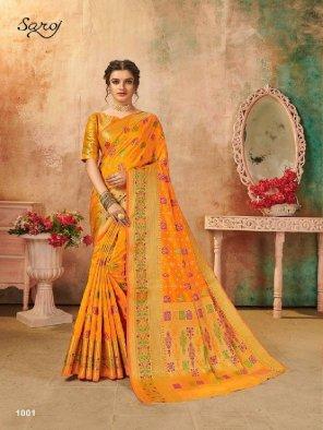 orange lichi silk fabric jaquard print work wedding