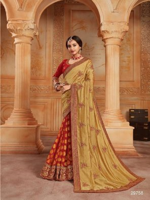 red vichitra silk fabric embroidery work occasionaly
