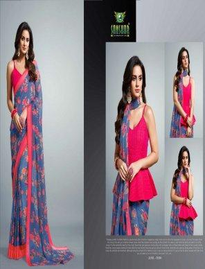 purple georgette fabric printed work casual
