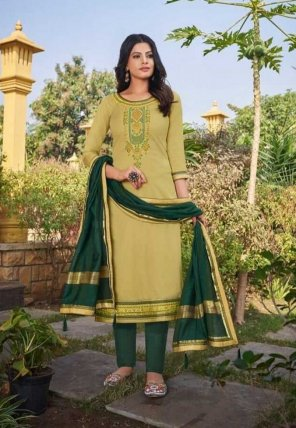 light mhendhi green jam silk fabric embroidery work party
