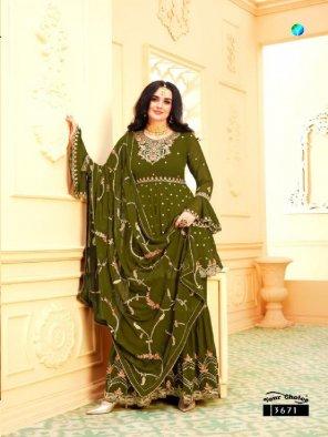 mhendi green georgette fabric embroidery work wedding