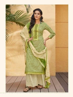 pista green cotton fabric printed work party