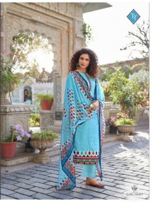 sky blue pure lawn cameric? fabric digital print work occasionaly