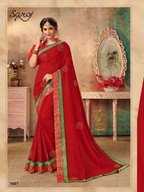 red vichitra silk fabric embroidery work festival