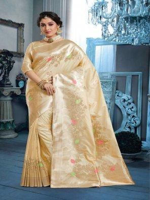 off white banarasi silk fabric jaquard print work party