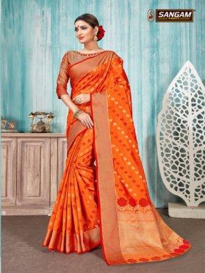 orange handloom cotton fabric weaving work ethnic