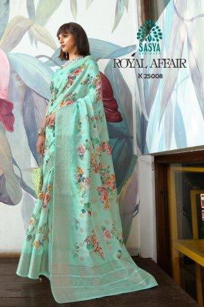 pista green silk fabric printed work ethnic