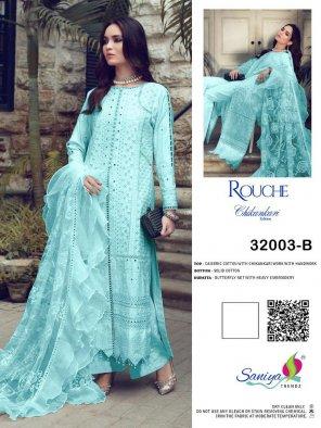sky blue cambric cotton fabric chikankari with hend work work wedding