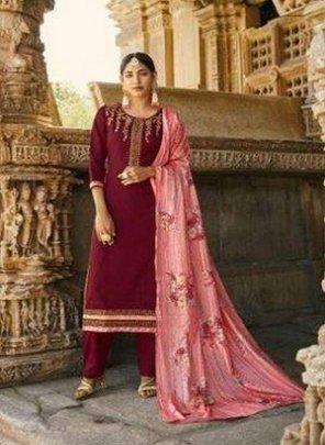 maroon jam silk fabric embroidery work wedding