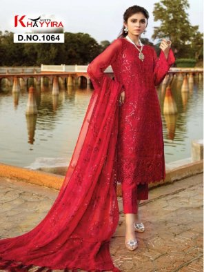 red georgette fabric embroidery work party