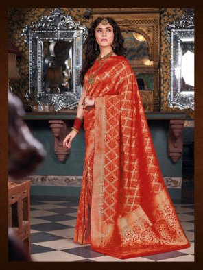 red banarasi silk fabric jaquard print work casual