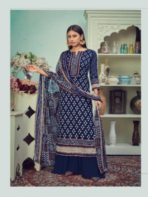 royal blue cotton fabric printed work party