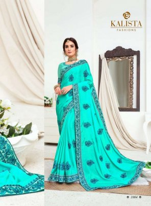 sky blue vichitra silk fabric embroidery work party