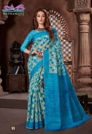 sky blue cotton fabric printed work wedding