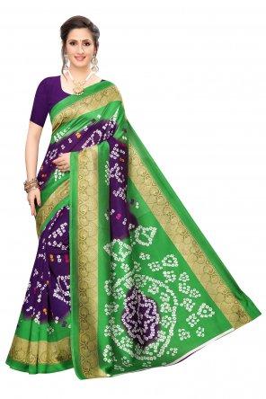 violet art silk fabric printed work ethnic