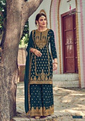 rama green georgette fabric embroidery work wedding