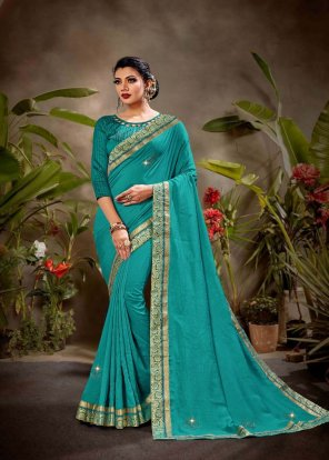 peacock green vichtra silk fabric embroidery work wedding