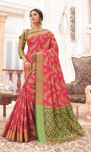 baby pink banarasi silk fabric jaquard print work wedding