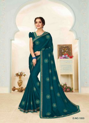 ranma green vichitra silk fabric embroidery work occasionaly