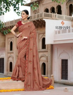 light pink bahubli silk fabric embroidery work party