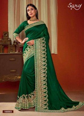 dark green vichitra silk fabric embroidery work wedding