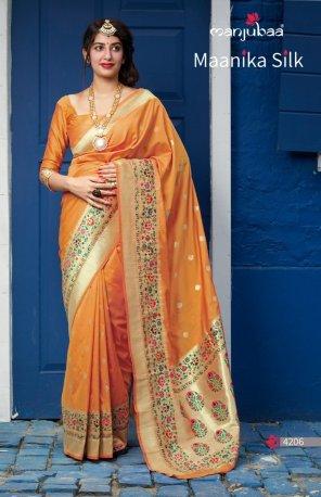 orange silk fabric jaquard print work wedding