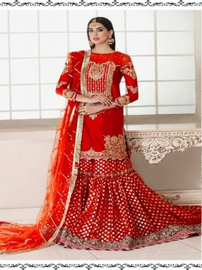 red net fabric embroidery work wedding