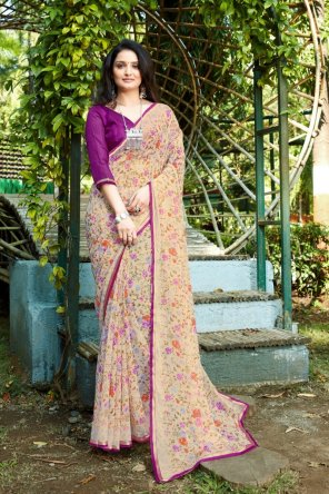 off white georgette fabric printed work party