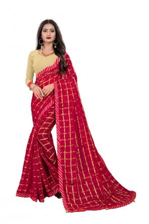 red georgette fabric printed work party