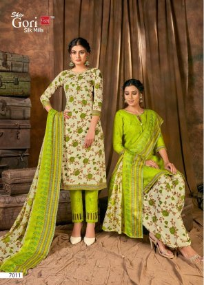 perrot green cotton fabric printed work festival